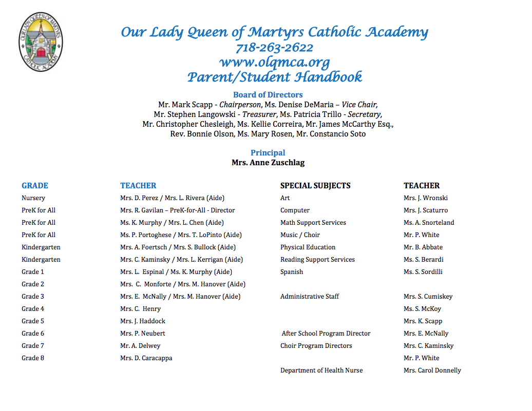 parent student handbook cover image